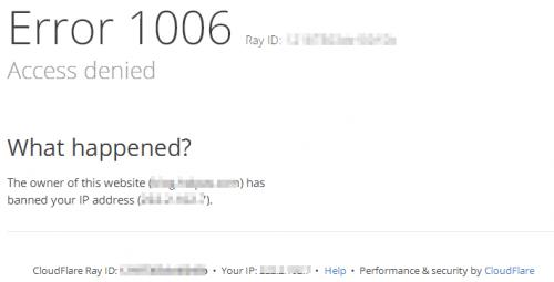 CloudFlare Error 1006