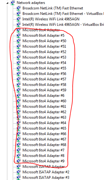 Microsoft 6to4 adapterを一括削...