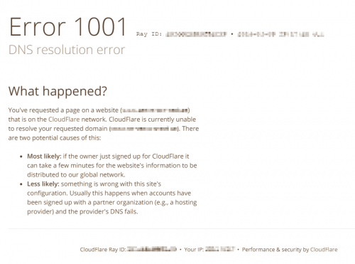 CloudFlare Error 1001