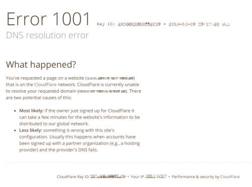 CloudFlare Error 1001